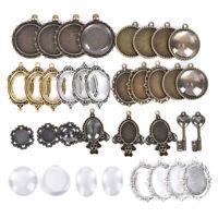 Cabochon Base Pendant Sets Trays Bezel Blank Glass Cover DIY Jewelry Making  Kn