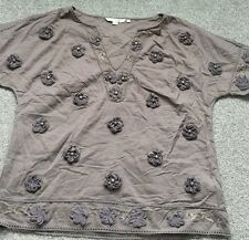 Boden Ladies brown cotton broderie top blouse. Size 12.