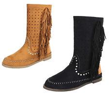 0e55d332972751 Markenlose wadenhohe Damen-Stiefel mit kleinem Absatz (kleiner als 3 cm)