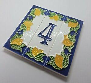 10cm x 3.4 Italian Handmade Lemon Designed Ceramic Number, Letter Tiles & Frames