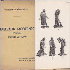 CATALOGUE 1934 TABLEAUX MODERNES PASTELS & BRONZES PAR RODIN 6 PLANCHES