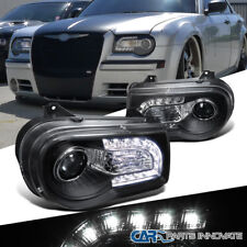 05-10 Chrysler 300C Black LED DRL Bar Projector Headlights Head Lights Lamps