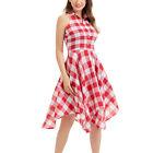 Women Summer Sexy Casual Vintage Sleeveless Pleated Plaid Irregular Dress