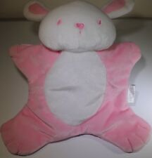 Carters Bunny Rabbit Plush Baby Girl Security Blanket Lovey Flat Pink & White