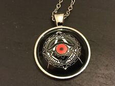 MASONIC Square Compass Eye Illuminati METAL & Glass PENDANT NECKLACE Freemason
