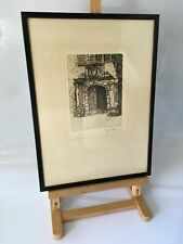 """Limited Edition Original Etching """"Old Doorway Cartmell"""" by Willie Rawson Framed"""