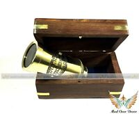 "NAUTICAL PIRATE SPYGLASS COLLECTIBLE BRASS 6"" TELESCOPE WITH WOODEN BOX GIFT"