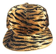 BROWN BLACK GOLD FAUX TIGER PRINT SNAPBACK HAT CAP FLAT BILL ANIMAL ZEBRA RETRO