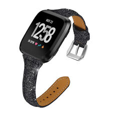Black For Fitbit Versa 2 1/Lite/SE Strap Slim Belt Women Genuine Leather Band