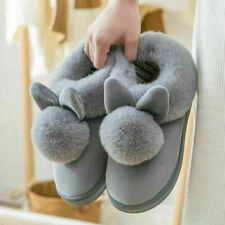 Women Bunny Rabbit Plush Winter Warm Home Slippers Slip On Soft Indoor Shoes