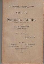 Bigorre BOURDETTE Notice des Seigneurs d'Abilhac Laou Argelès-en-Labéda (1905).