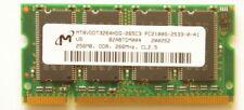 Laptop Memory 256MB   MT8VDDT3264HDG-265C3  PC2100S-2533-0-A0 DDR 266 CL2.5