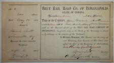Belt Rail Road Co. of Indianapolis - Rare 1885 See Description