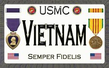 "Marine - Vietnam - Purple Heart - Magnetic Sign - 6"" L X 3.75"" H - Outdoor"