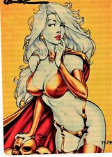 Lady Death Metallicard PIN-UP Gold 76/99 sign by Brian Pulido COA FREE UK POST