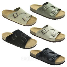 AGOS Mens Two Buckle Wide Strap Slide Sandal Casual Shoes