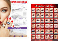 Nail Salon Posters combo, include an Eyebrows Poster & a Nail Salon Price List