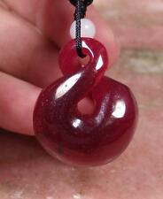 CHINESE Deep Red JADE PENDANT Circle Donut *8* Knotted Knotte Cord  289647