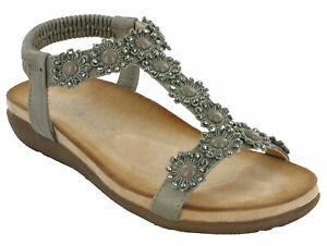Cipriata ladies elasticated flower halter back sandals Style L106 Col Pewter s 9