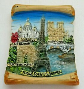 Paris France Fridge Magnet 3D Resin Tour Eiffel Notre Dame Arc Triomphe Blanche