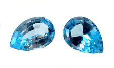 BLUE Topaz GEM Pear SHAPE Stones FACETED Pair