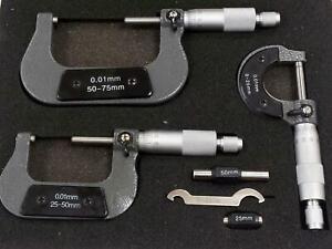 Carbide Anvil Micrometer Measuring Tool Set 0 to 75mm Wooden Case Workshop DIY