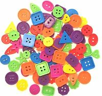 70g Plastic Buttons Arts Crafts ASSORTED Mixed Colours