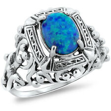 ANTIQUE VICTORIAN STYLE BLUE LAB OPAL .925 STERLING SILVER RING SIZE 5,   #229