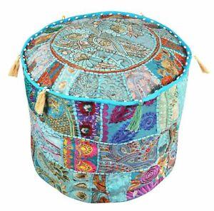 Bohemian Patchwork Pouf Ottoman Indian Vintage Pouffe Moroccan Chair Bean Cover