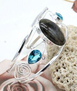 925 Sterling Silver Labradorite & Topaz Gemstone Jewelry Cuff Bracelet S-ADJ''