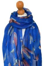 LADIES BEAUTIFUL BLUE  MULTI FLORAL SCARF MEDIUM WEIGHT OVERSIZED SCARF NEW IN