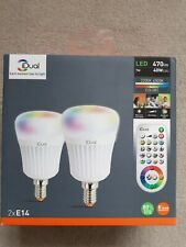 iDual E14 470lm Candle LED Dimmable Light bulb, Pack of 2 RGB REMOTE CONTROL NEW
