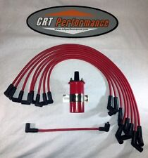 FORD SMALL BLOCK 221-260-289-302 Small Cap HEI RED Spark Plug Wires + 45K Coil