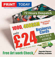 1000 Business Cards 450gsm Full Colour Silk Double Sided Free Design & Graphics