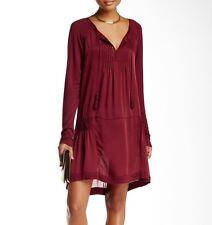 $295 Calypso St. Barth Kerr Garnet Red Tassel Tie Silk Mixed Media Tunic Dress M