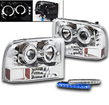 1999-04 F250 F350 EXCURSION CHROME LED HALO PROJECTOR HEADLIGHTS LAMP W/BLUE DRL