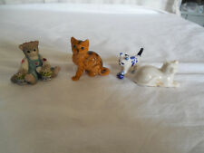 set of 4 mini cat figures, porcelain, plastic & resin