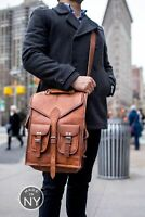 Real Genuine Leather Backpack Men's Retro Style Vintage New School Bag