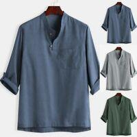 Men Baggy Summer Cotton Linen 3/4 Sleeve V-Neck Blouses Loose Casual T-Shirt Top