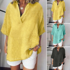 ZANZEA Womens Short Sleeve V Neck Casual Loose Tops Ladies Cotton Shirts Blouse