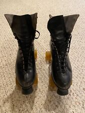 Vintage Red Wing Black Leather Mens Roller Skates-Size 9