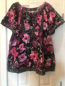 3X Koi Bella * Stunning Black&Pinks Floral *CNA/RN/Nurse Scrub Top