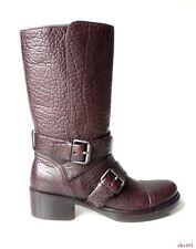 new $995 MIU MIU PRADA dark brown leather buckled BIKER BOOTS 35.5 5.5 - HOT
