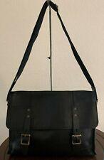 Vintage Classic Cole Haan Black Flap Leather E/W Laptop Messenger Bag