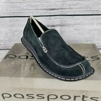 Passports Suede Leather Loafers Black Slip on Shoes Women's Size 10-M NEW w/box