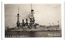 RPPC USS New Hampshire Battleship BB-25 Haiti Mexico, WWI Convoy Escort Postcard