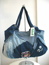 Medium Denim Blue Two Strap Boho Shoulder Handbag Zip Internal Pocket Bohemian