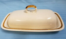 Mountain Wood Collection Stoneware Retro Butter Cheese Dish Japan Tan Brown