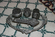 Unusual Middle Eastern Stash Pill Containers W/Tray-Resemble Drums & Sitar-LQQK