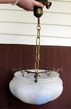 Antique Hanging Satin Glass Ceiling Fixture Light Chandelier Globe Shade Vintage